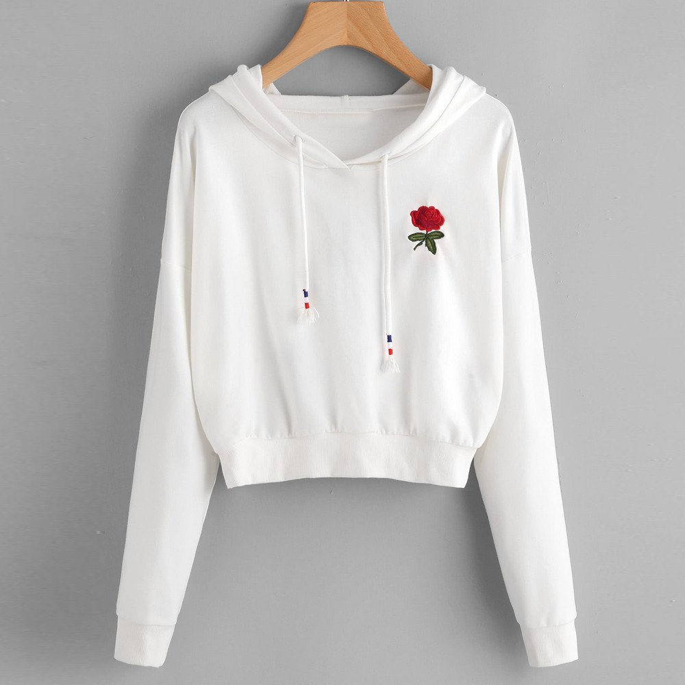 Women Ladies Fashion Rose Embroidered Hooded Sweatshirt Pullover Keepfit Crop Tops for Teen Girls