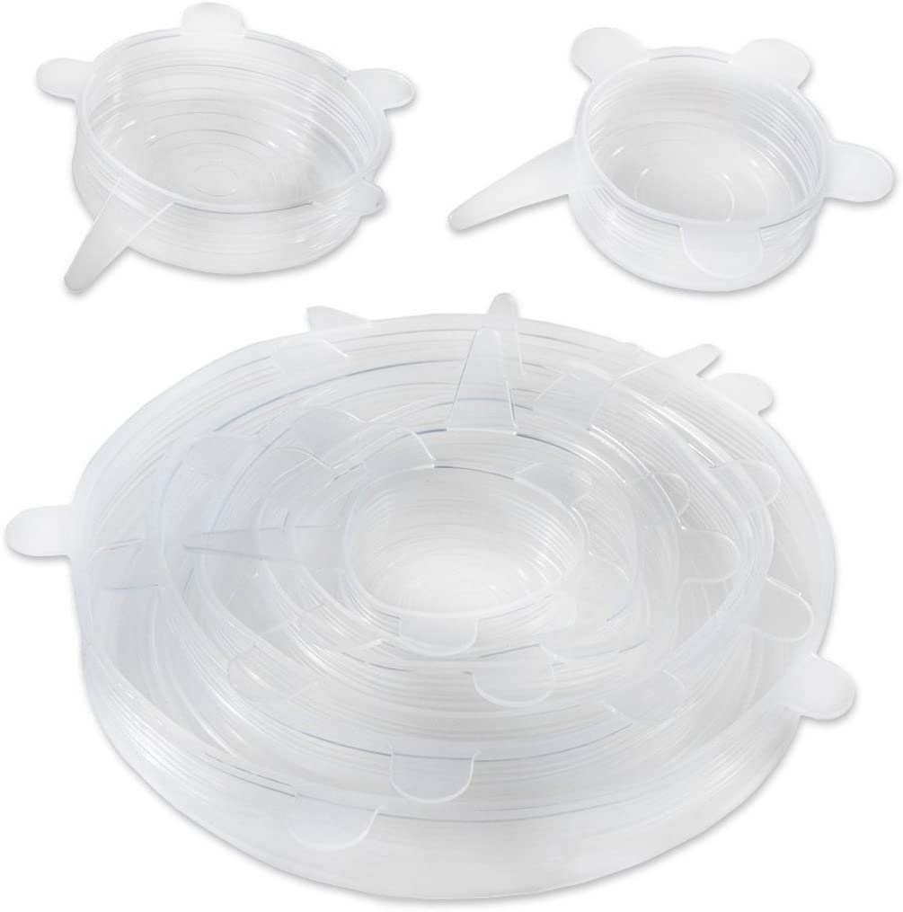 6pcs Silicone Cover aspiration Couvercle bol Pan Cooking Pot Lid silicium Couvercle extensible blanc