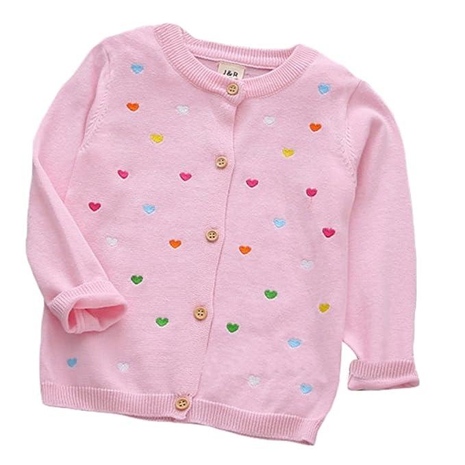 Amazon.com: bebé Baby Girl chaqueta de punto Algodón Corazón ...