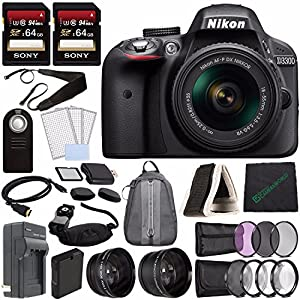 Nikon D3300 DSLR Camera with 18-55mm AF-P DX Lens (Black) + Battery + Charger + Sony 64GB Card + 55mm 3 Piece Filter Set (UV, CPL, FL) + Backpack + Remote Bundle
