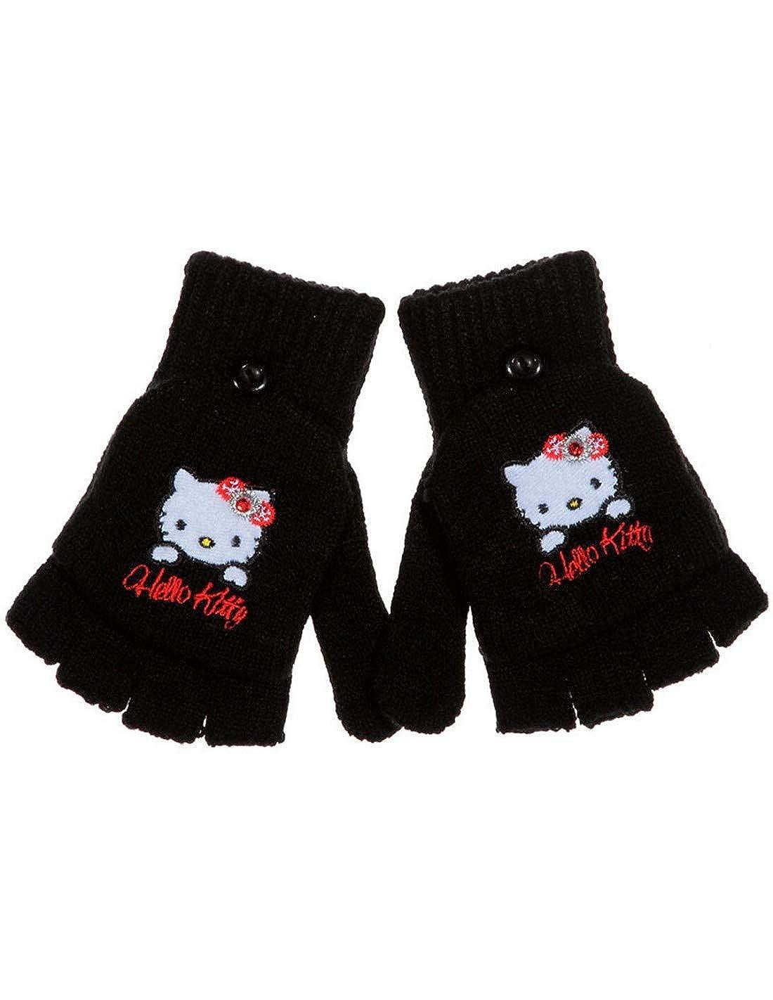 Hello kitty Mitaines - Gants enfant fille Gris et Noir TU  (4 à 8ans ... 7818ed98b0d