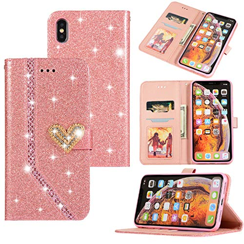 Ostop iPhone Xs Max Glitter Wallet Case,Crystal Credit Card Holder Leather Stand Flip Slim Cover 3D Sparkle Diamond Pearl Heart Pattern Creative Design Magnetic Clasp,Shiny Pink