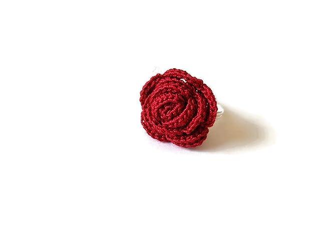 Anello Bordeaux Rosa Gioielli Handmade Alluncinetto Fiore Regalo