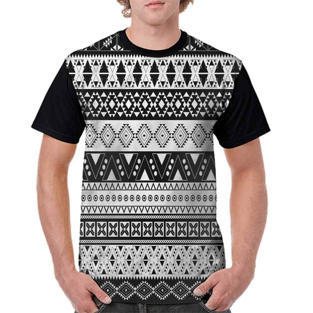 BlountDecor Casual Short Sleeve Graphic Tee Shirts,Mayan Ornate Lines Colorful Fashion Personality Customization