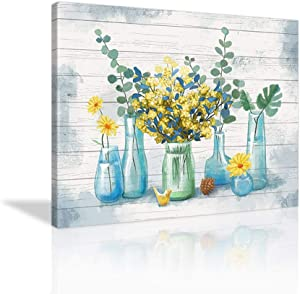 Yellow Flower Wall Art Vintage Flower Paintings Yellow Floral Poster Watercolor Bathroom Decor Picture Prints Canvas Farmhouse Wall Decor for Bathroom Kitchen Home Decoration Framed Ready to Hang- 24''x16''