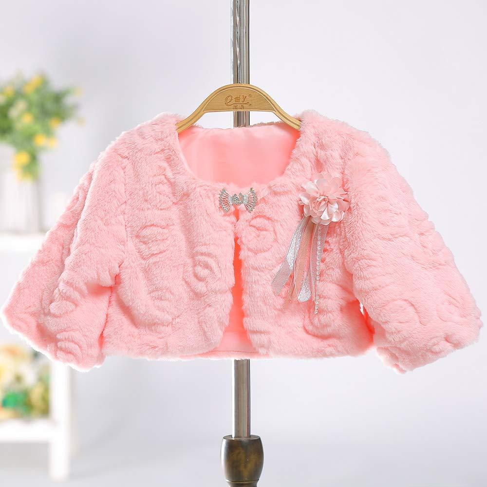 Dolwins Girl Faux Fur Wraps Cape Long Sleeves Girls Shawls Kids Princess Coats