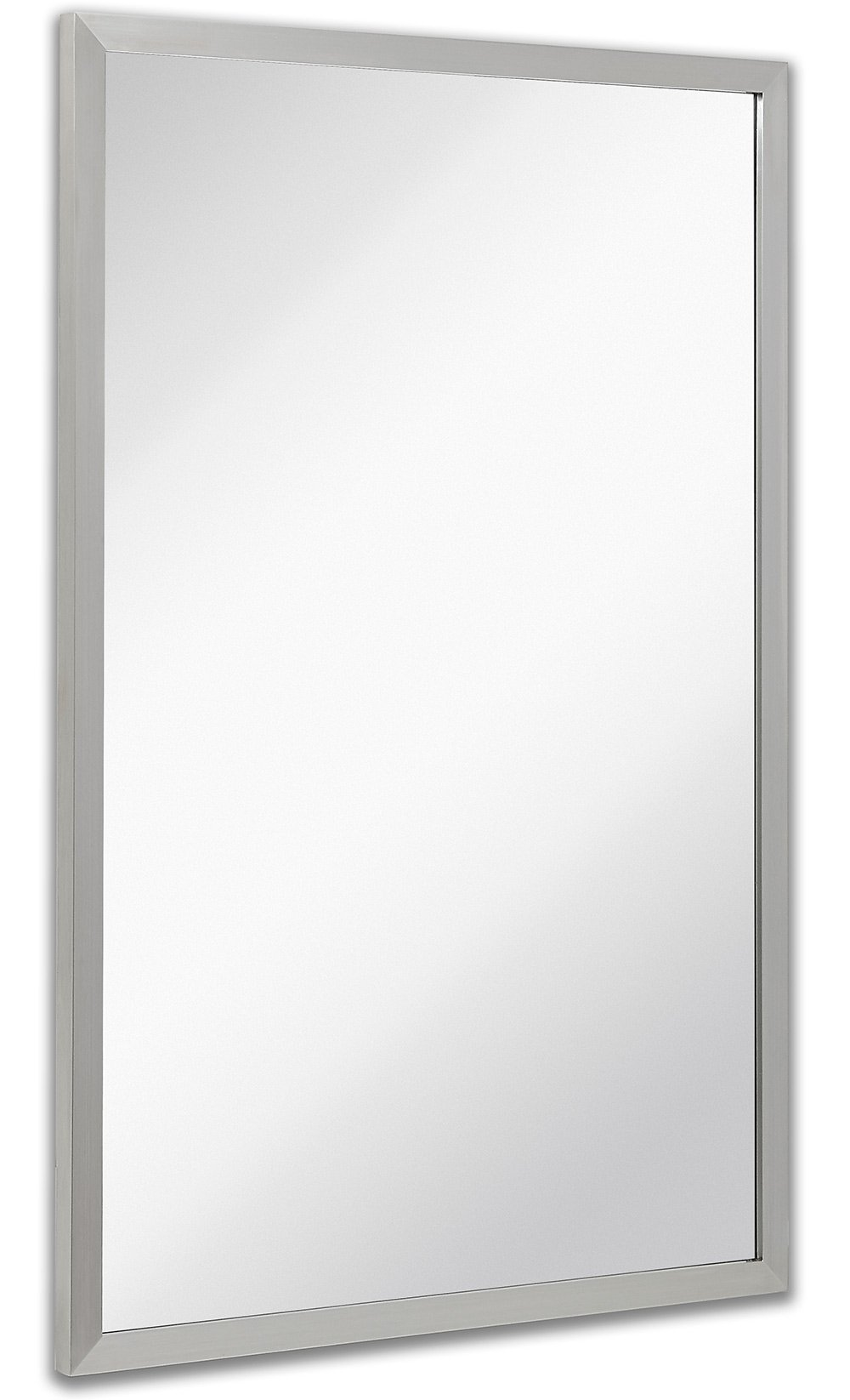 Commercial Restroom Rectangular Wall Mirror | Contemporary Industrial Strength | Brushed Metal Silver Rectangle Mirrored Glass | Vanity, Bedroom or Restroom Horizontal & Vertical (24'' x 36'')