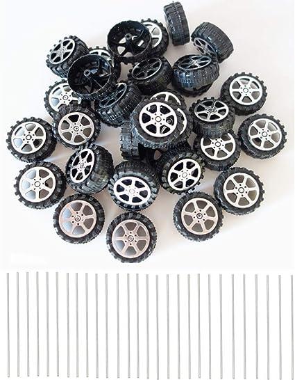 WP-TT 100pcs Plastic Roll 2mm Dia Shaft Car Truck Model Toys Wheel 30mmx9mm