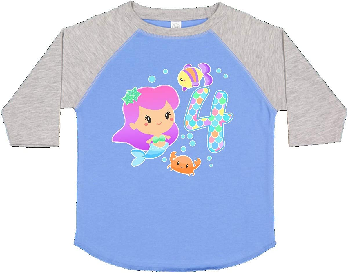 inktastic Fourth Birthday Mermaid with Fish and Crab Toddler T-Shirt