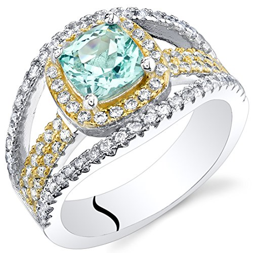Bling Rings Wholesale (Simulated Paraiba Tourmaline Sterling Silver Cushion Pave)