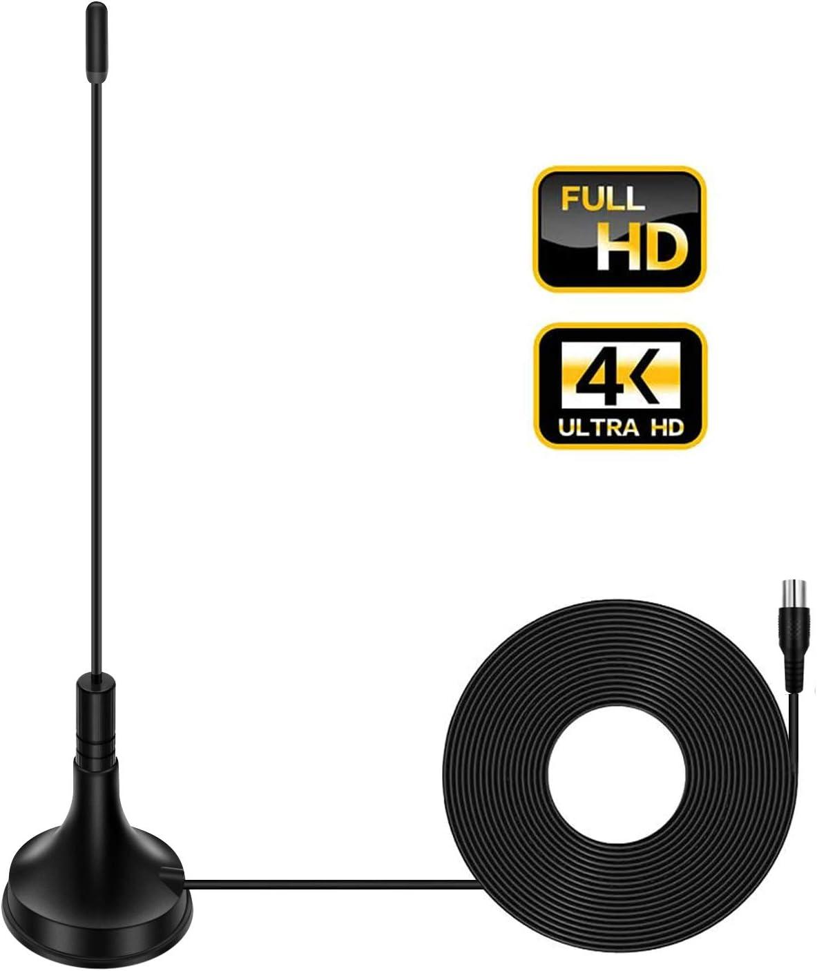 Antena de TV para interior digital HDTV Antena Freeview 4 K 1080 p HD FM VHF UHF ventana antena para canales locales TODO la televisión