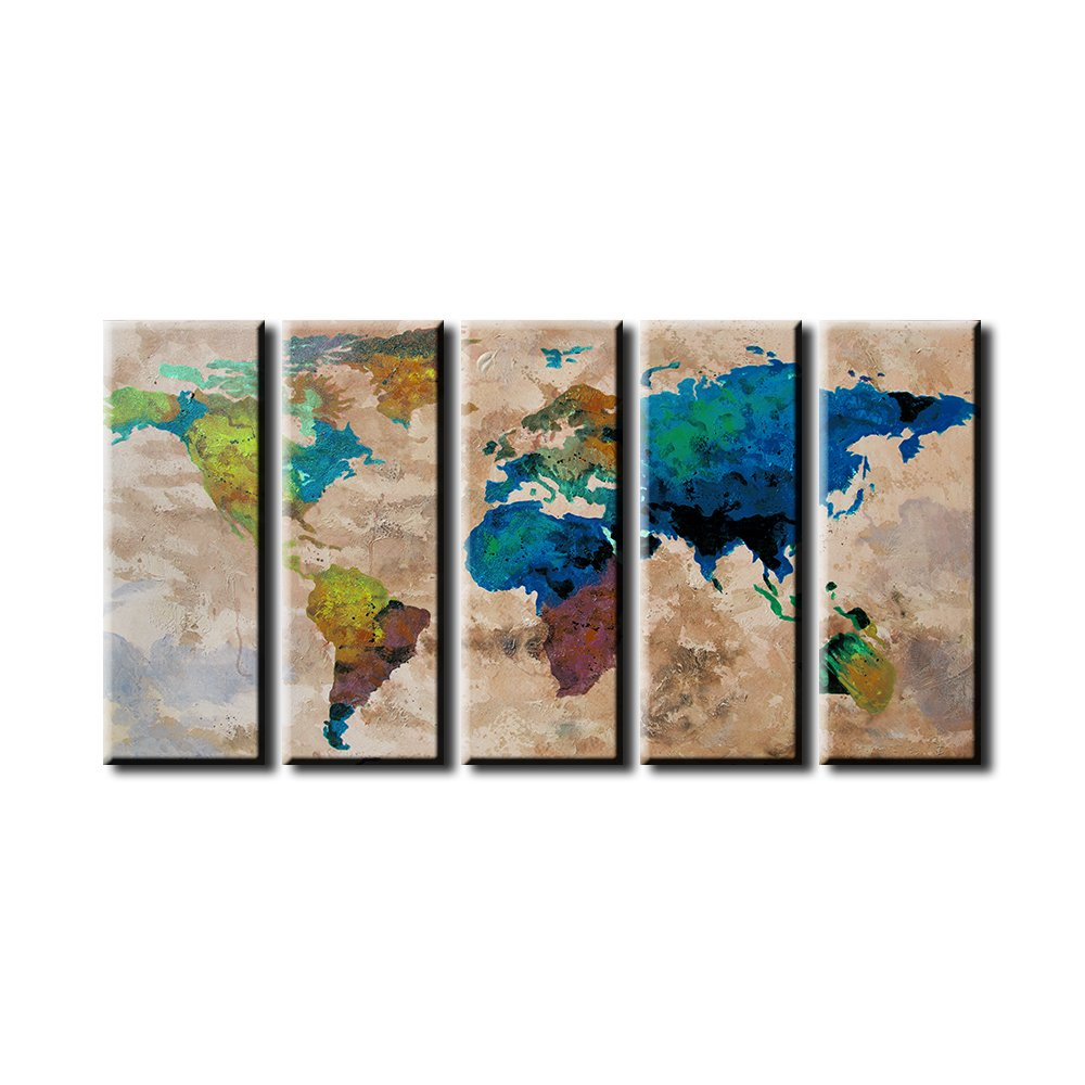 EZON-CH Extra Large Canvas Colorful World Map on Old Wall Background 5 Panel Watercolor Large Wall Art 80 Inch Total