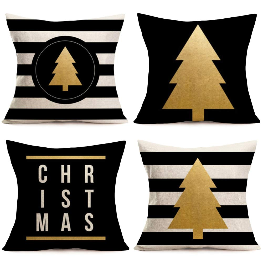 Fukeen Set of 4 Christmas Tree Throw Pillow Cover White and Black Stripes with Golden Pine Tree Pillow Cases Cushion Cover Cotton Linen Holiday Home Sofa Couch Decor 18x18 Inch Pillowcase Xmas Gifts