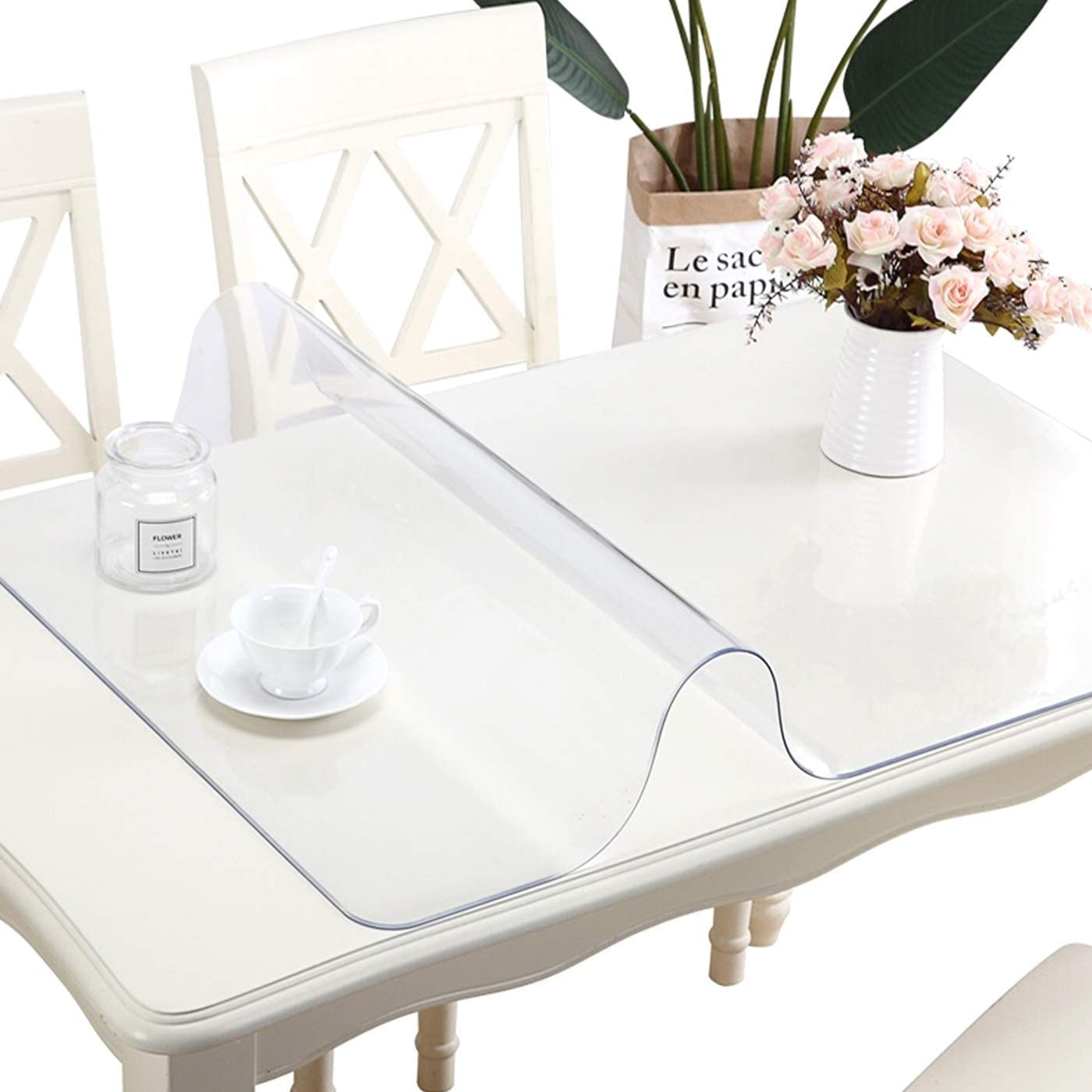 58X58 Inch 1.5mm Thick Square Wood Furniture Surface Protection PVC Clear Tablecloth Clear Plastic Table Protector Crystal Desk Pad PVC Vinyl Dining Tabletop Cover Easy Clean Water Resistant Table Pad