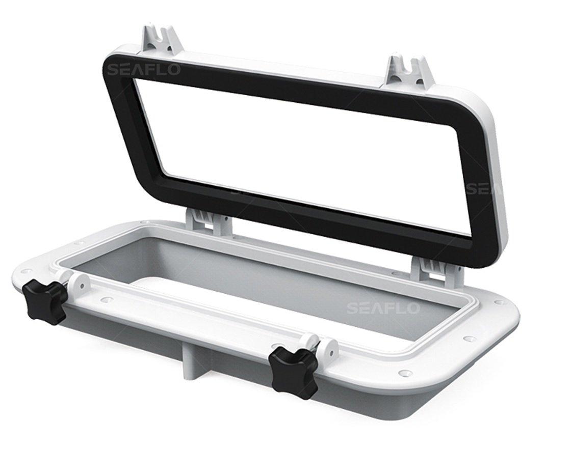 Seaflo Rectangular Porthole Window w/ABS Plastic & Tinted Glass - 16'' x 8'' (White)