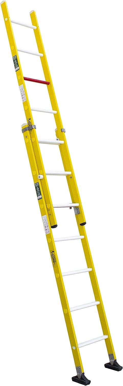 Escalera aislante de dos tramos extensible manual, fabricada en fibra de vidrio (2 tramos x 7 peldaños): Amazon.es: Bricolaje y herramientas