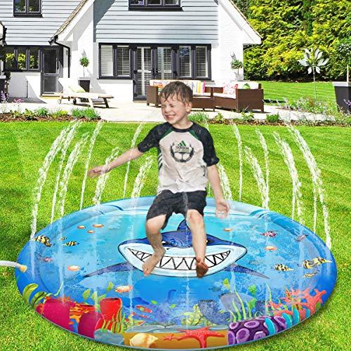 Dillitop Splash Play Mat, Splash Pad 40 Sprinkler for Kids, Outdoor Water Fun Toys Summer Swimming Pool Toys for Toddlers, Babies, Boys and Girls (40)