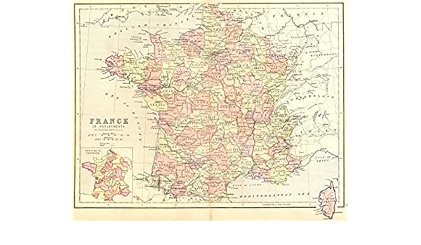 Map Of France Departments.Amazon Com France Departments 1870 Old Map Antique Map
