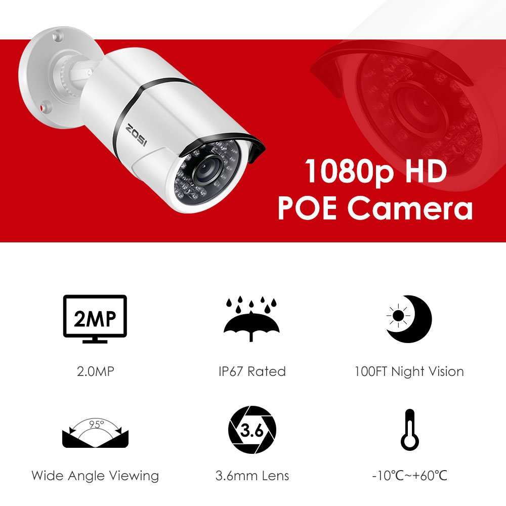 Zosi 8 Channel 1080p Poe Cctv System 4x 20 Mp Outdoor Camera Ethernet Wiring Transformer Further Diagram Also 1tb Hard Drive 30m Night Vison Diy Tools