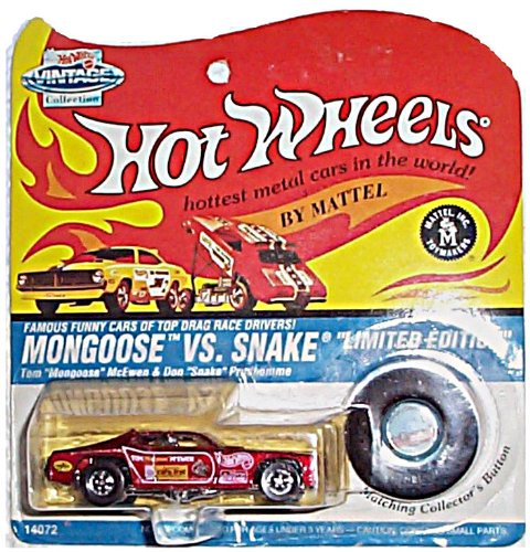 Hot Wheels - Limited Edition Vintage Collection - Mongoose vs. Snake - Plymouth Duster Funny Car (Metalflake Dark Red) - Tom McEwen (Mongoose) - Authentic Commemorative Replica