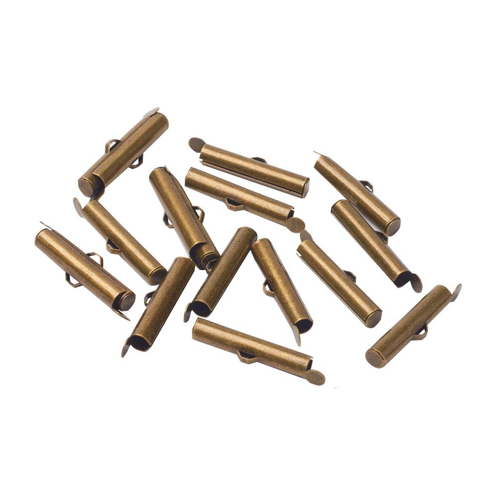 PandaHall About 300pcs Antique Bronze Brass Slide On End Clasp Tubes Slider End Caps Crimp for Jewelry Making Handcraft Works Necklace Bracelet Hole: 1-2mm by PH PandaHall