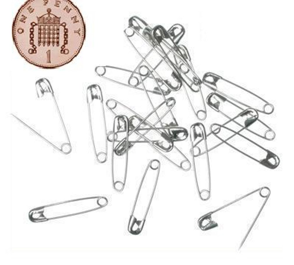 100 Small Tiny Metal Steel Mini Safety Pins 2cm 20mm Silver live-wire-direct