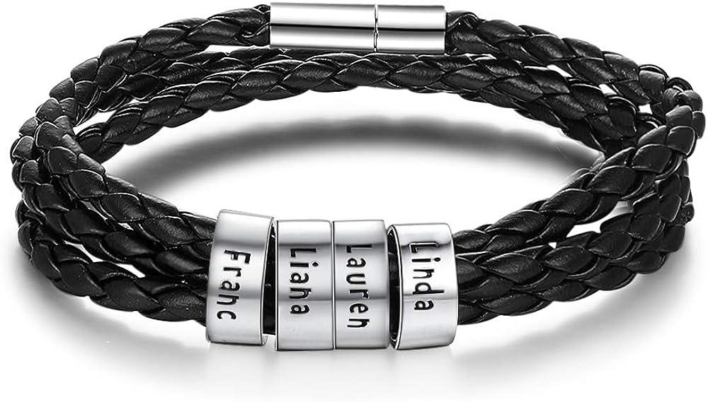 Grand Made Bracelet Avec Nom Personnalisé Bracelets En Cuir Pour Homme En Argent Personnalisé Famille 4 Noms Cadeau Pour Les Mères Et Les Meilleurs Amis Amazon Fr Bijoux