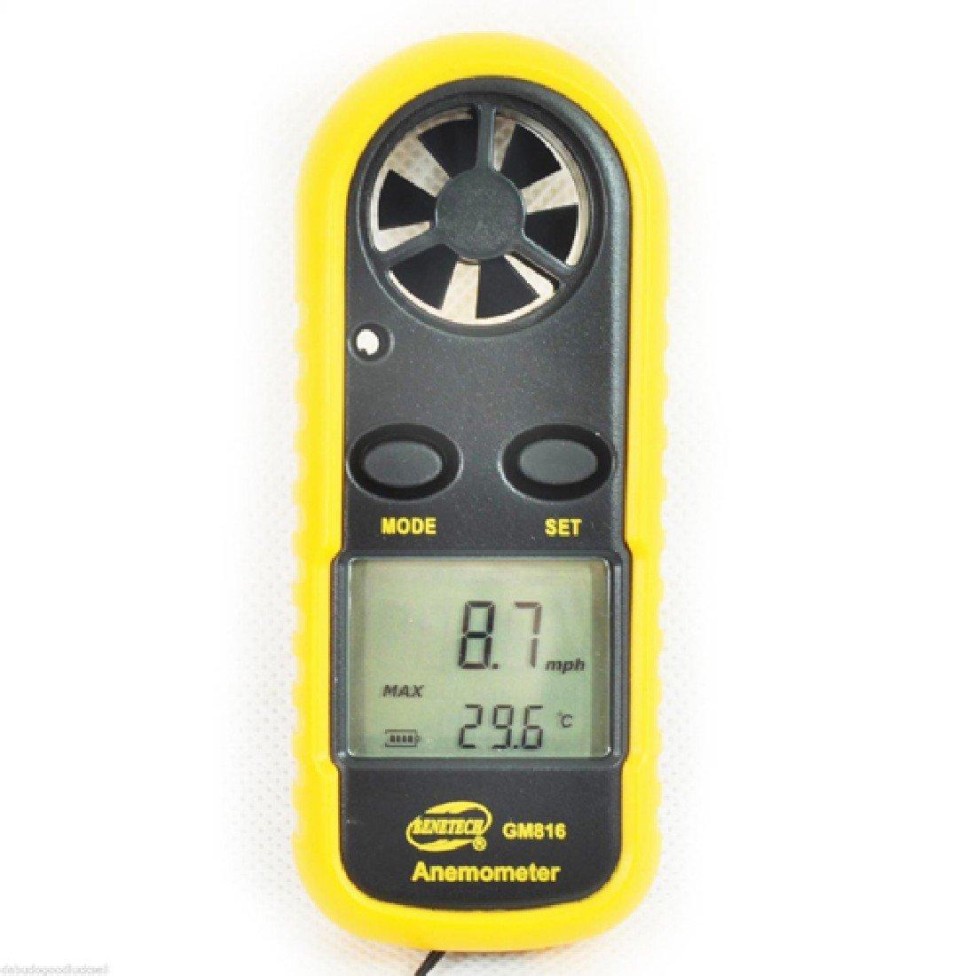 Yellow Mini Handheld LCD Digital Anemometer Air Wind Speed Meter Tester
