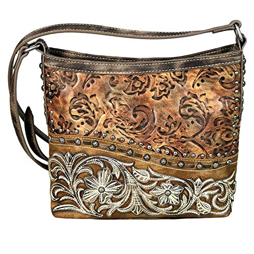Montana West Cross Body Messenger Bags Western Floral Tooled Embossed Purses MW631-8360 (Brown) (Tooled Western Purse)