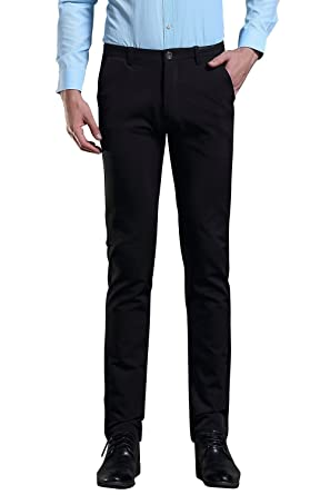 87350e0c2c21 FLY HAWK Mens Business Dress Pants Straight Leg Trousers Black US Size 26