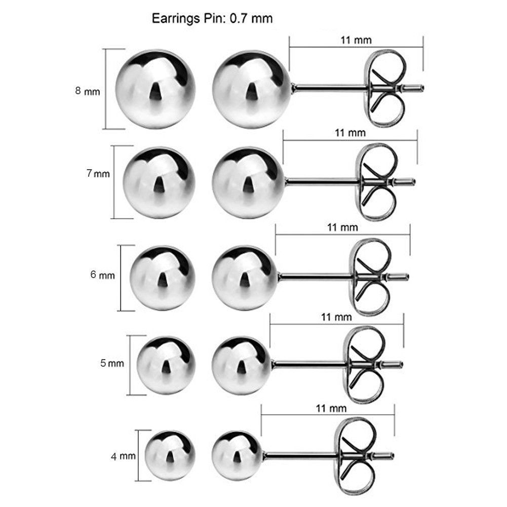 E/&Vanessa 316L Surgical Stainless Steel Round Ball Studs Earrings 5 Pair Set Assorted Sizes 4-8mm