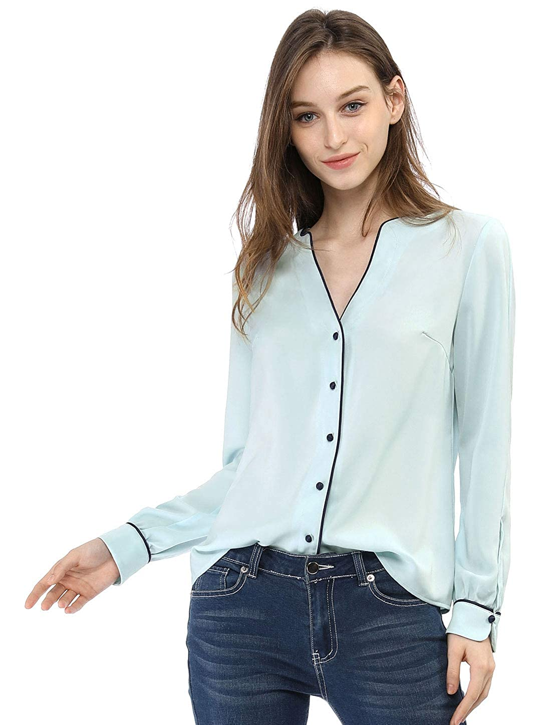 add6d9b465c Allegra K Women s Button Down Long Sleeve Contrast Trim V Neck Elegant  Blouses Tops at Amazon Women s Clothing store