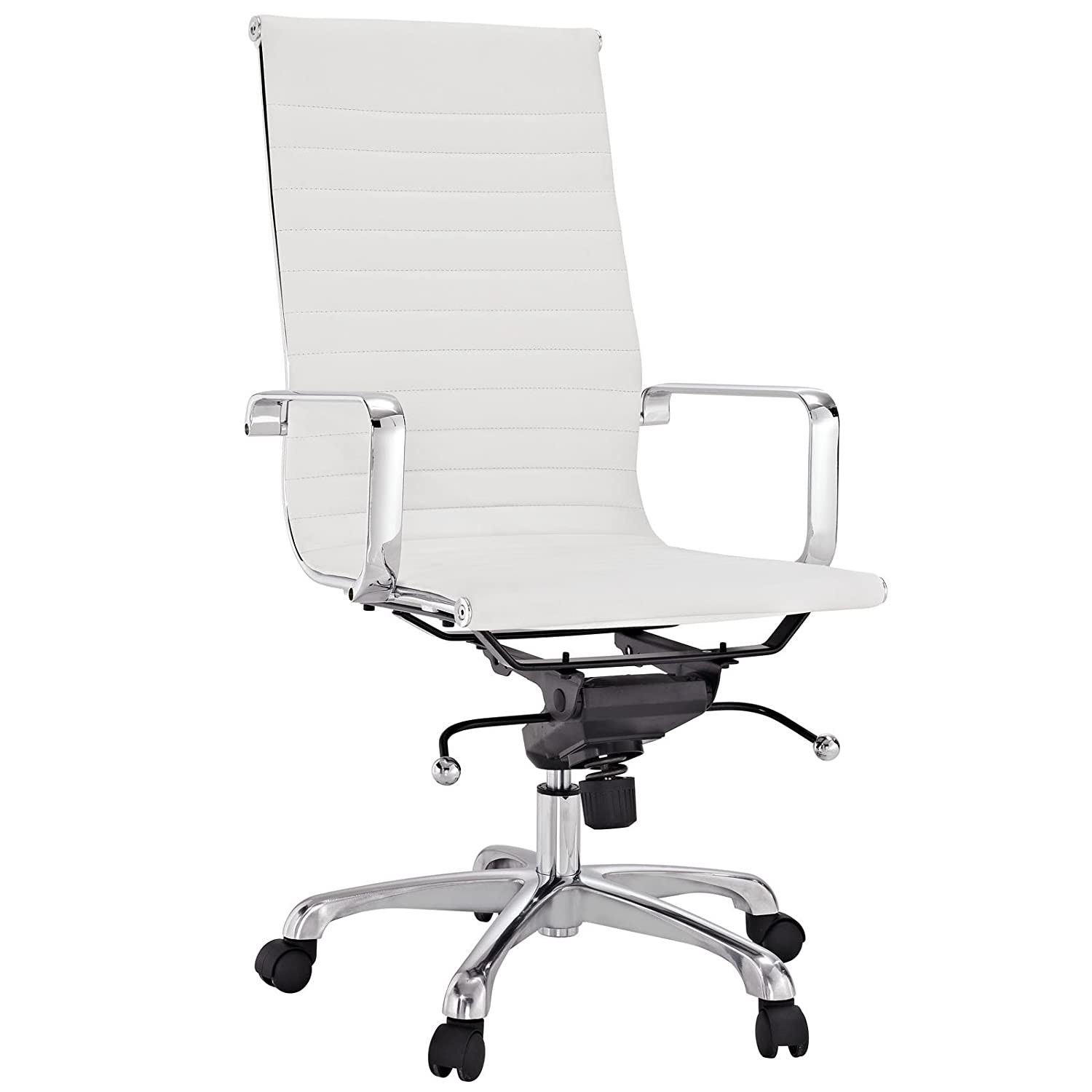 Amazon Modway Ribbed High Back Chair in White Vinyl Kitchen