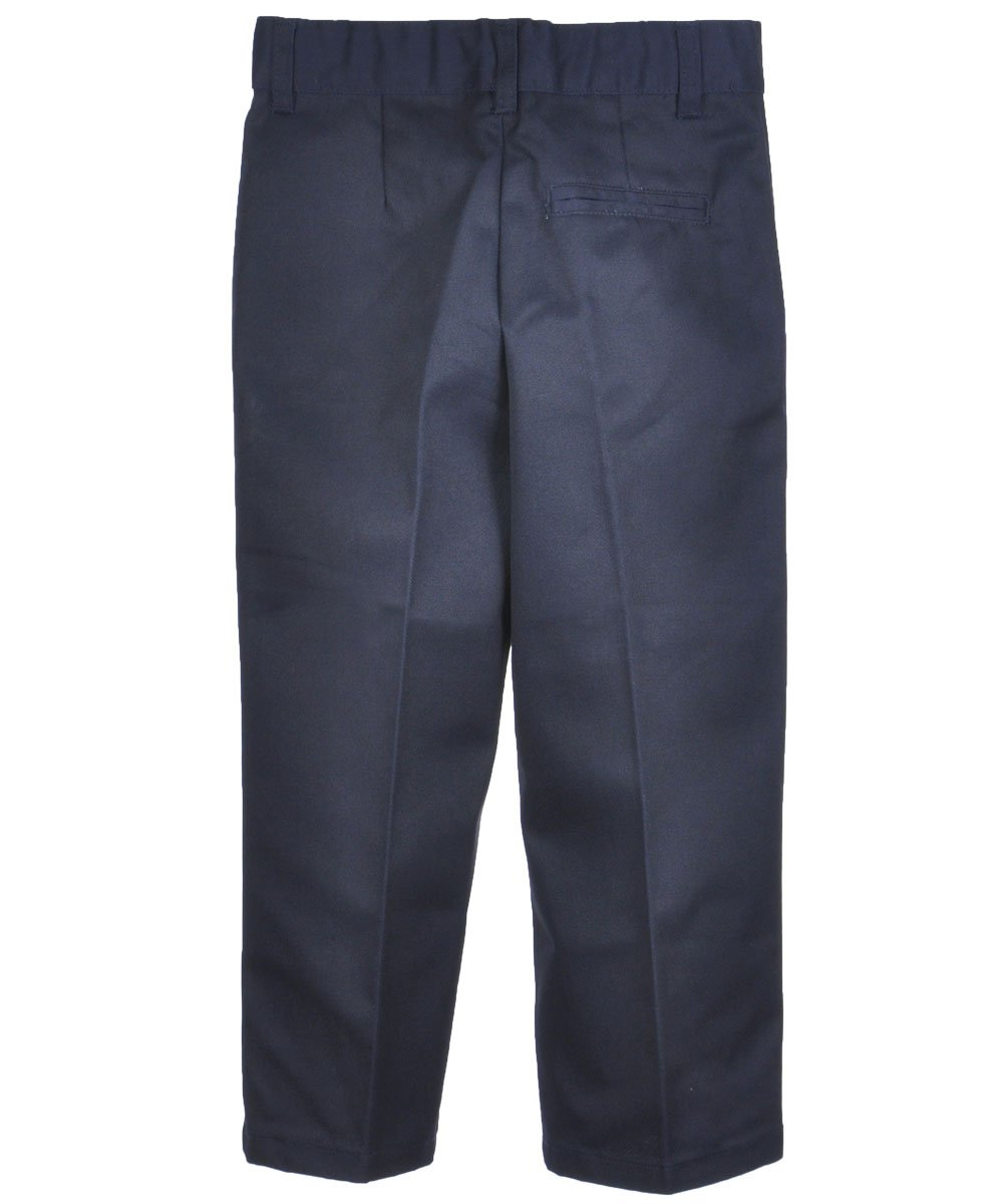 French Toast Little Boys' Flat Front Wrinkle No More Double Knee Pants - navy,