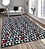 Modern Contemporary Black, Grey, Cream & Red Very Funky Extra Large Rug 120x170cm