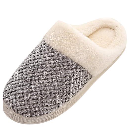 e76c9d5a2b2 NUWFOR Men Warm Home Plush Soft Slippers Indoors Anti-slip Winter Floor  Bedroom Shoes(