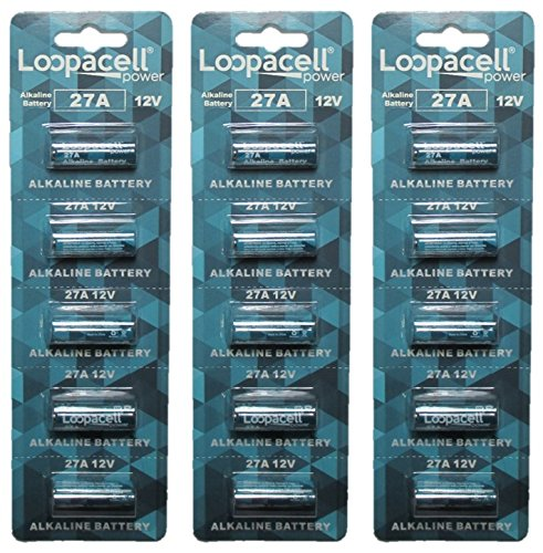 15 Loopacell A27 12 Volt Batteries MN27 27AE 23-279 GP27 27A 27GA