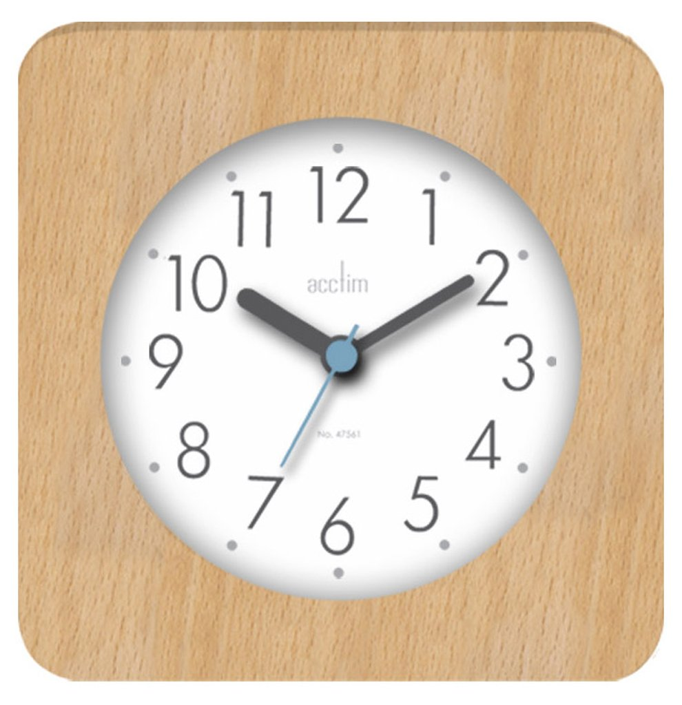 Acctim 33771 Syon Square Wooden Table Clock in Natural