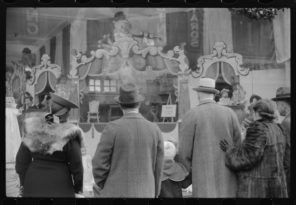 Vintography Reproduced Photo of Window Shoppers Watching Toy Display in Downtown Providence, Rhode Island 1940 Delano C Jack 45a