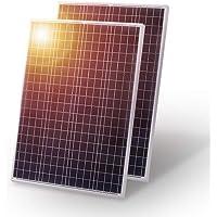 Panel solar DOKIO de 200 W, 2 unidades, 100 W, policristalino, ideal para carga de batería de 12 V en casa, barcos, caravanas y autocaravanas
