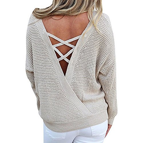 Shirt Casual Kaki Manches Aelegant Dos Tops Nu Longues Sweater Femme Tq8wECP