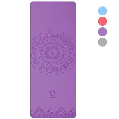 HOMFA Esterilla de Yoga Antideslizante 2-in-1 de Tapete y Toalla Yoga Mat Sudor Absorbente ...