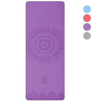 Homfa Esterilla de Yoga Esterilla de Gimnasia de Caucho Natural Yoga Mat Antideslizante 2-in-1 de Tapete y Toalla Double Capa 4.2mm de Grosor 185 x ...