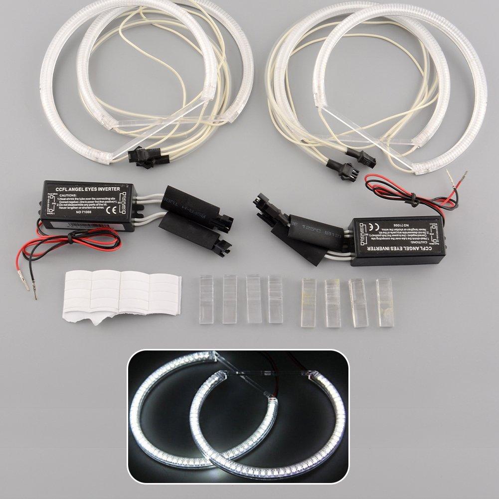 Sedeta® Kit di lampadine per lampadina a bulbo angolato 4x CCFL Angel Eye per E36 3 E38 7 E39 5 E46 3 Series Catodo freddo DC 12V bianco