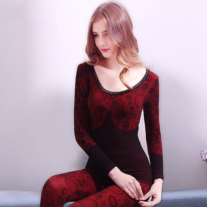 YiLianDa Mujer Encaje Conjunto Termico Invierno Chaqueta & Pantalones Larga Ropa Interior Conjunto De Pijama Imprimir