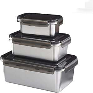 316Stainless Steel Food Storage Box Set 3 Pieces, Kitchen Refrigerator Crisper, Lunch Box, Rectangular, Leak-proof, Air-tight and Stackable