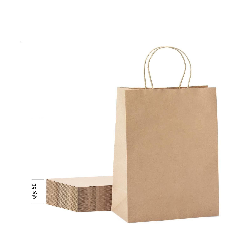 [50 Pack] Heavy Duty 10x13 Kraft Paper Bags 50 pc 10x5x13 Kraft Paper Bags Brown Paper Bags Brown Gift Bags Kraft Shopping Bags Kraft Retail Bags Paper Gift Recycled Paper Bags Kraft Paper Bags with Handles Bulk