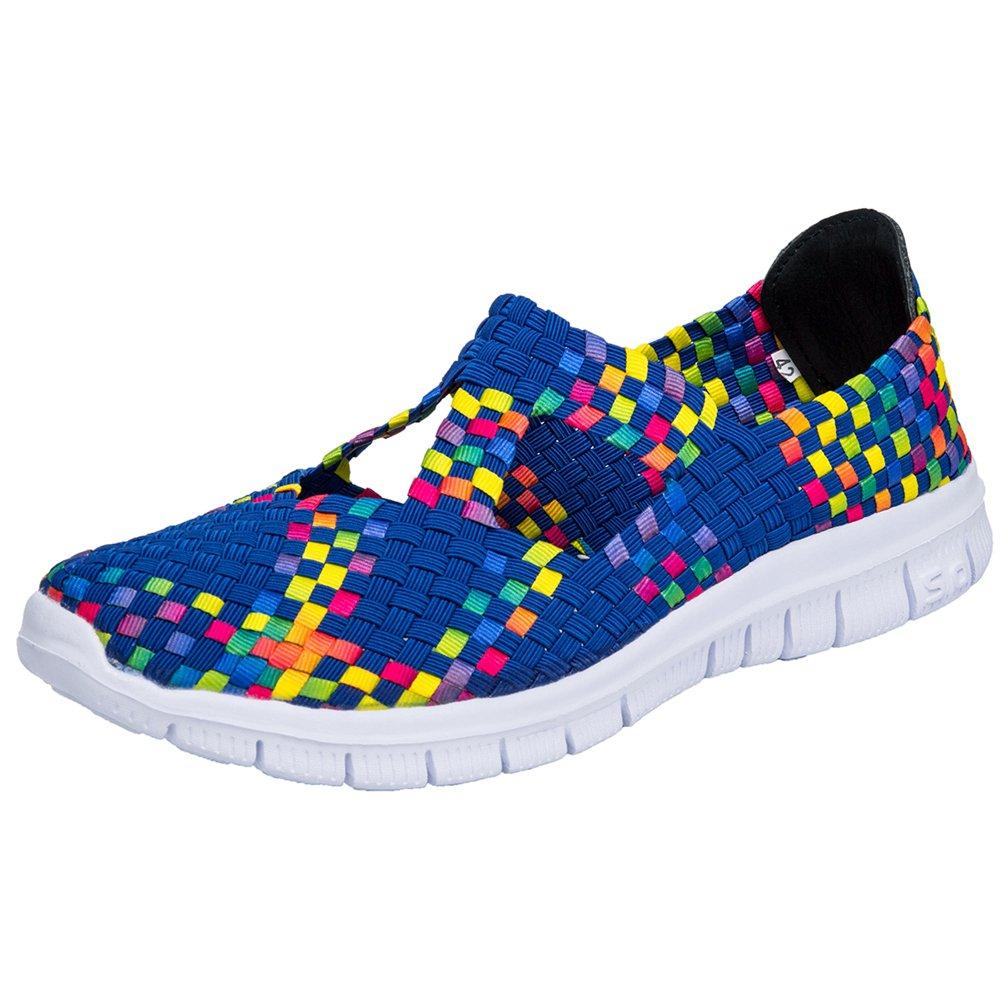 Sanearde Women Slip on Walking Shoes Woven Elastic Mary Jane Flat Lightweight Fashion Sneakers (7.5, Blue)