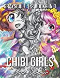 Chibi Girls Grayscale: An Adult Coloring Book Collection with Adorable Kawaii Characters, Lovable Manga Animals, and Delightful Fantasy Scenes
