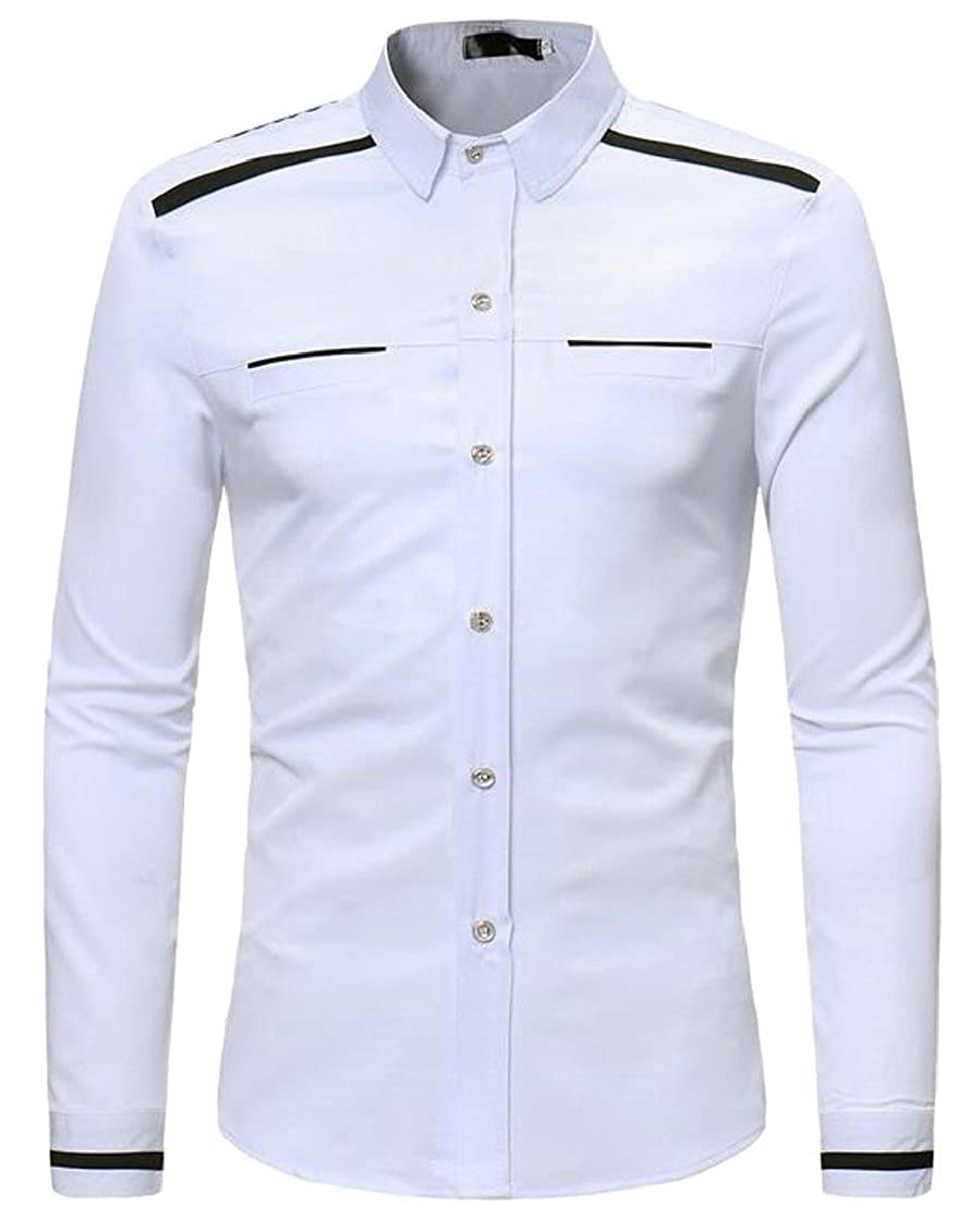 lovever Men Solid Color Premium Long-Sleeved Classic Business Slim Fitted Fashional Lapel Shirt